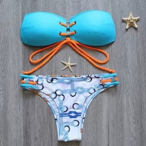 ✨Turquoise Blue & Orange Geometric Halter Bikini✨